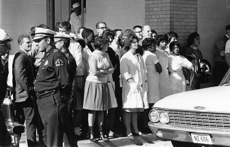 Crowd At Parkland Emergency Entrance--11-22-63