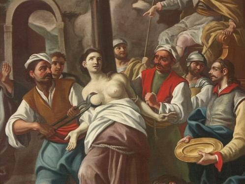 Romualdo Formosa, 1765: the torturer applying pincers (Basilica di San Sebastiano, Melilli (Sicily), Italy)